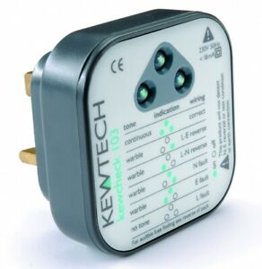 Kewtech KEWCHECK103 Mains Wiring 240v Socket Tester with Audible Tone UK Plug