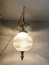 Vintage Hanging Cut Glass Swag Lamp MCM Hollywood Regency