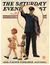 Rare Original VTG 1931 Saturday Evening Post Policeman Cover Only Art Print