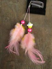 HANDMADE USA Feather Hair Extensions ONE OF KIND Clip Cupcake Pink Yellow Child