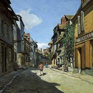 """""""Rue de la Bavole, Honfleur"""" by Claude Monet. Canvas Life Art.  12x12 Print"""