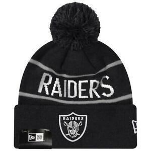 Las Vegas Raiders New Era NFL Grey Stripe Team Cuffed Knit Beanie - Black