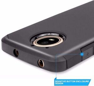 For Motorola Moto E4 - Hybrid Armor Impact Phone Skin Case Black Non-Slip Cover