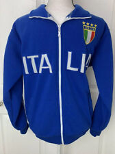 ITALIA Mens High Neck Jacket Coat Blue Star Venezia Embroidered Sz Medium Soccer