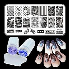 Lace Flowers Nail Art Stamping Image Plate Stamp Stamper & Scraper Nail Kit DIY