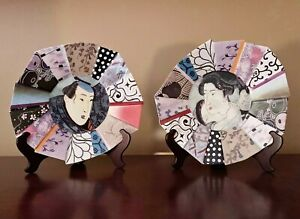 DECORATIVE PLATES - GEISHA & SAMURAI DECORATIVE PORCELAIN PLATES - SET OF TWO