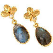 Labradorite 18K Gold Plated 925 Sterling Silver Dangle Earrings Gemstone Jewelry