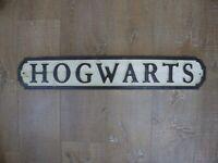 "HARRY POTTER Large 30'' Wooden Carved Street Sign ""Hogwarts"" Wall Decor Plaque"