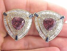 18Kt Trillion Cut Gem Pink Tourmaline Sapphire & Diamond Earrings YG 14.01Ct