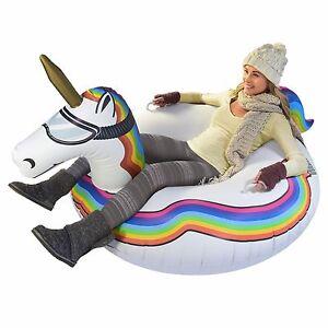 GoFloats Winter Snow Tube Unicorn Ultimate Sled and Toboggan
