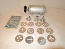 Vintage Mirro Cookie Press 12 Discs 3 Decorating Tips + Instructions