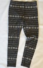 Dakini Merino Wool Leggings Large Black Snowflakes Fair Isle Nordic