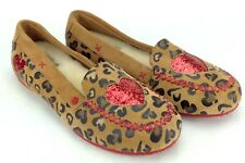 49dc8d00f0e SAMPLE I Heart UGG Leopard Print Suede Glitter Hearts Loafers J4 Girls  shoes 4