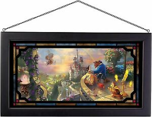Thomas Kinkade Beauty and the Beast Falling In Love 13 x 23 Framed Stained Glass
