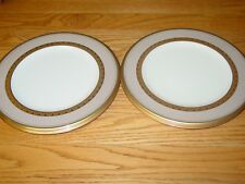 "Set (4) Noritake Fitzgerald Bone China 9"" Salad Luncheon Accent Plates Gold Trim"