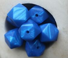 silicone loose Beads 15mm Hexagon  BPA and lead free metallic blue chew teething