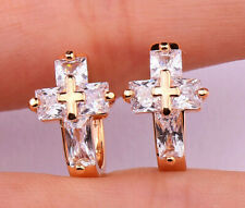 18K Gold Filled - Cross Rectangle Geometry Topaz Zircon Club Women Gems Earrings