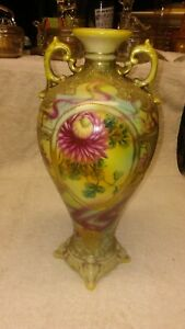 "Nippon Moriage Vase 12"", Mums, Heavy Gold"