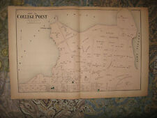 Large Fine Antique 1873 College Point Queens New York City Handcolored Map RareN