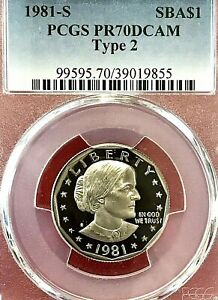 1981-S SUSAN B ANTHONY DOLLAR PCGS PR70 DCAM TYPE 2