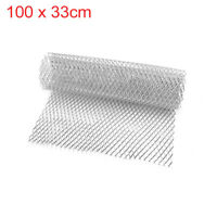 "40"" x 13"" Rhombic Grill Mesh Sheet Silver Tone Aluminum Alloy Auto Bumper Grille"