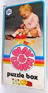 Vintage Chad Valley Play & Learn 1970s Baby Puzzle Box New Boxed