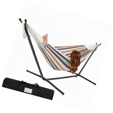 Us Double Hammock With Space Saving Steel Stand Includes Carrying Case