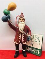 Midwest Cannon Falls Randy Tate Vintage Folk Art Santa Balloons Ornament-Signed