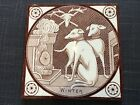 """c1870 Aesthetic period tile - T & R Boote - """"Winter"""" Dogs by fireside design"""