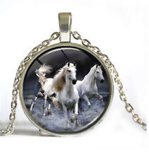 HOT Vintage Horse Cabochon Silver plated Glass Chain Pendant Necklace Jewelry