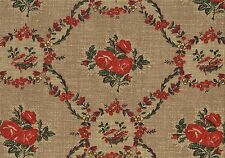 Waverly Fabric Mary Rose Brown Red Green Gold Floral Cotton Drapery Upholstery