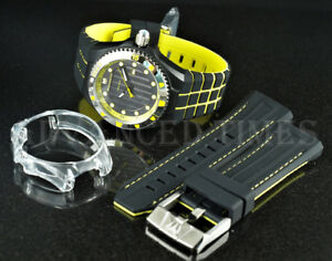 TechnoMarine 45mm CRUISE Black IP Yellow Accent Watch Set w/ extra strap & cover