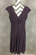 American Living Womens Dress Sleeveless Stretchy Purple White Polka Dot _EJ