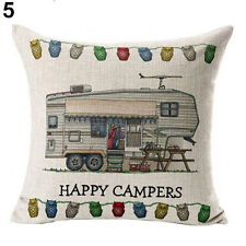 Caravan Grey Nomads Fifth Wheeler Linen Square Cushion Cover