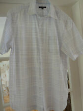 "MEN'S SHORT SLEEVE SHIRT, ""GEORGE"" WHITE WITH BLUE CHECKED, POCKET, size MEDIUM"