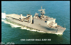 USS Carter Hall LSD-50 postcard  US Navy  dock landing ship