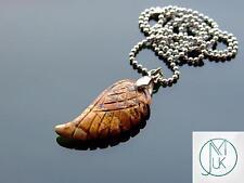 Picture Jasper Gemstone Angel Wing Pendant Necklace Natural Chakra Healing Stone