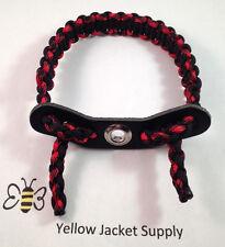 Archery Paracord Bow Wrist Sling Black and Black Widow  Leather Yoke
