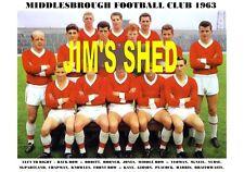 MIDDLESBROUGH F.C.TEAM PRINT 1963 (YEOMAN/KNOWLES/NURSE/KAYE/PEACOCK)