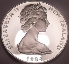 Huge Cameo Proof New Zealand 1984 50 Cents~15,000 Minted~Free Shipping