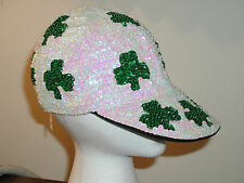 ST PATRICK'S DAY CAP BASEBALL HAT SEQUIN IRISH SHAMROCK GLITZ PARADE COSTUME NEW