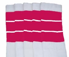 "22"" KNEE HIGH WHITE tube socks with HOT PINK stripes style 5 (22-142)"