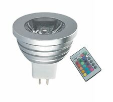 SPOT RGB LAMPADA FARETTO MR16 MULTICOLORE 3W POWER LED TELECOMANDO CROMOTERAPIA