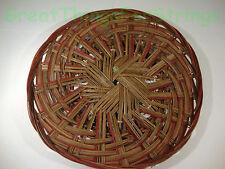 Medium Hand Woven Wicker Wood Plate Holder Flat Burgundy Brown Holder Decor