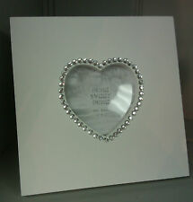 """Shabby Chic White with Diamante Heart Wooden Photo Frame Free Standing 3"""" x 3"""""""