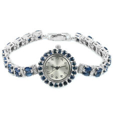 Watch Blue Sapphire Sterling Silver 925 Two Row Design 71/4 Inch
