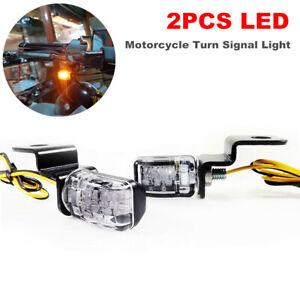 2PCS LED Motorcycle Bikes Turn Signal Light Indicator Flasher Amber  Smoke Lamp