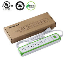 Poweradd 6 Outlet Power Strip Surge Protector 5ft Cord Lightningproof UL Listed