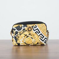 VERSACE 1495$ Small Savage Barocco Printed Quilted Leather Shoulder Bag