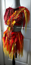 Girl On FIre Fairy Dress Costume Rave Bra Wear Halloween Dance Photo Prop